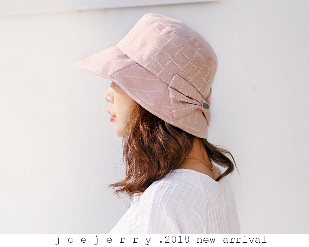 e8c6c91efd5 joejerry Plaid Bucket Hat Elegant Cloth Sun Hat Women Summer Hats ...