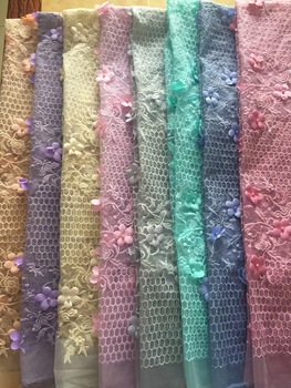 2018 Latest African French Lace Fabric Embroidery High Quality African Cord Lace Royal Blue Nigerian Tulle Fabric for Wedding