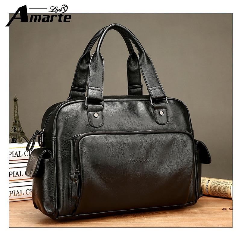 Amarte Brand Man Bag Leather Black Briefcase Men Business Handbag Messenger Bags Male Vintage Men's Shoulder Bag Large Capacity