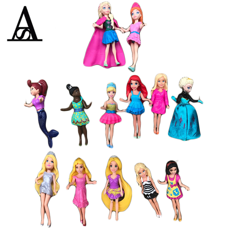 10pcs Elsa Princess Doll Rapunzel Snow White Alice Little Mermaid Dolls PVC Action Figure Toys For Girls Polly Pocket Toys disney 10cm q version snow white princess alice mermaid figure alice in wonderland ariel the little mermaid pvc figure model toy