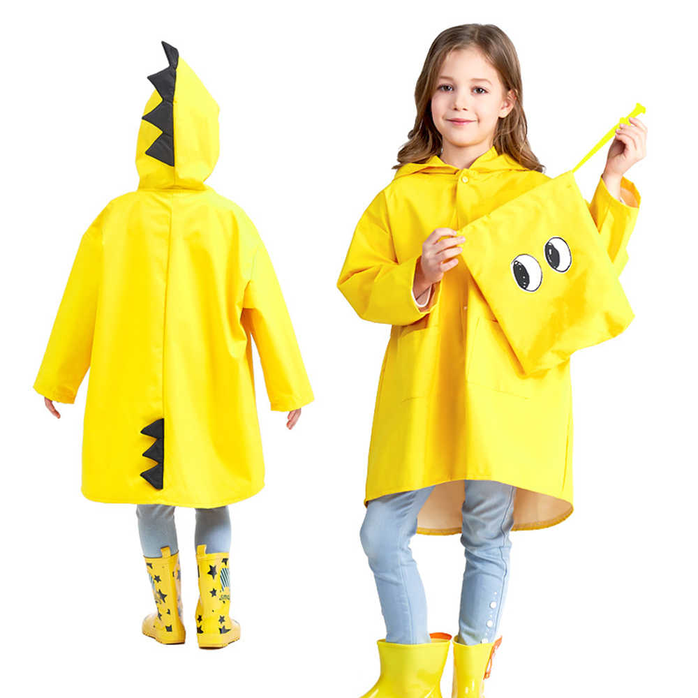 1 adet komik sevimli küçük dinozor Polyester bebek yağmurluk açık su geçirmez yağmurluk çocuk rüzgar geçirmez panço erkek kız yağmurluk