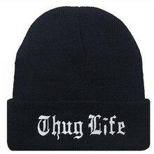 THUG LIFE mujeres hombres invierno gorro de lana de punto Unisex hip-hop  Skullies Beanie gorra Casual sombreros de invierno nu. 91b7314b794