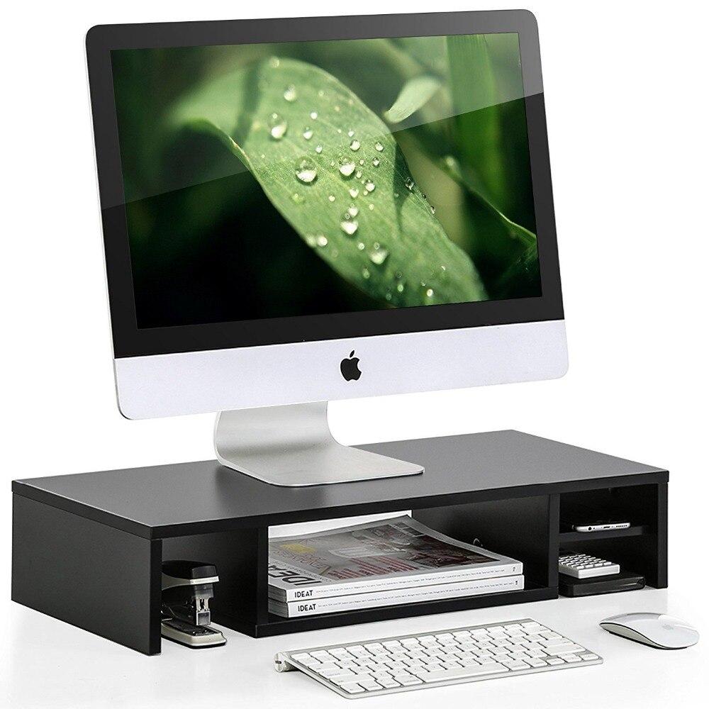 Hot Seller Fitueyes Black Desktop Wooden Monitor Stand Computer