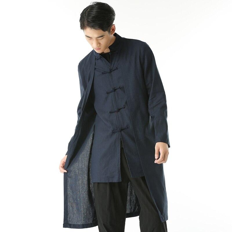 100% Wahr Freies Verschiffen Leinen Männer Großer Leinen Graben Der Chinesischen Stil Plus Größe M-5xl Männer Beiläufige Langhülse Mantel X-lange Drehen-unten Kragen