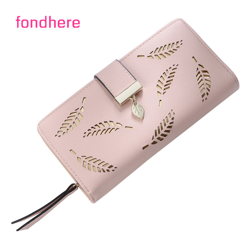 fondhere Women Wallet Fashion Hollow Out Leaf Design PU Leather Long Female Purse High Quality Phone Clutch Ladies Wallet