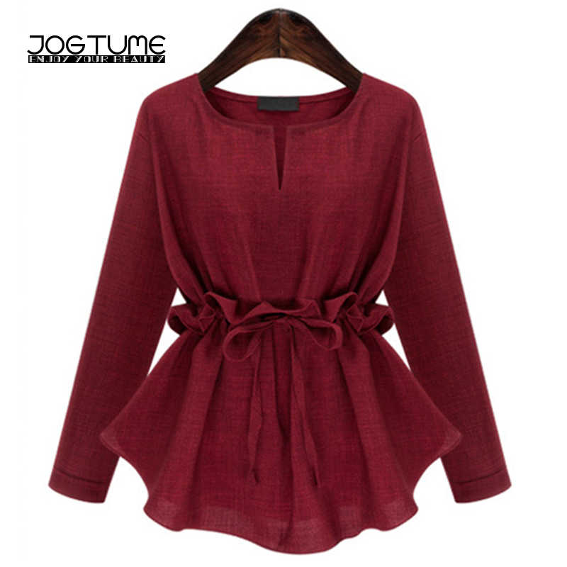 7e21ed18684 Detail Feedback Questions about Office Ladies Blouse Tees Burgundy Color  2018 Fashion Style Womens Cotton Linen Tops Elegant Slim Plus Size 4XL 5XL  Female ...