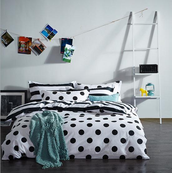 twin full queen size black white dots 4pcs bedding set duvet cover