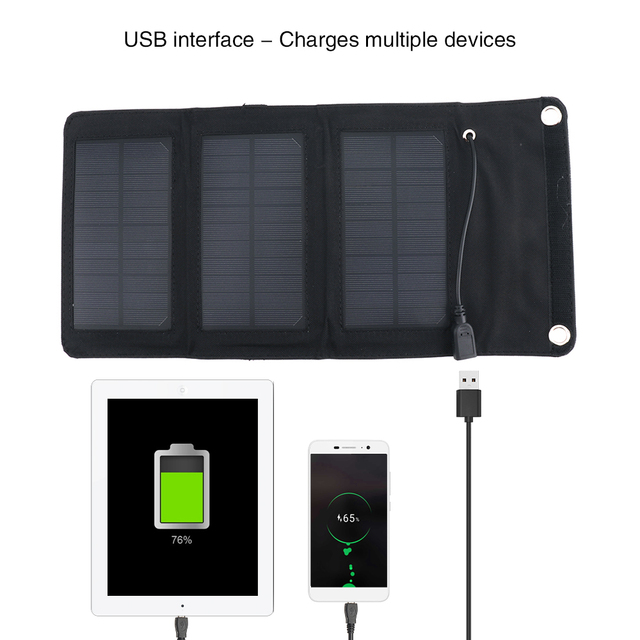 BORUiT Solar Charger 5V 5W/7W/10.5W/14W/21W Solar Panel Charger Portable Solar Cells Chargers for Smart Phone Tablet
