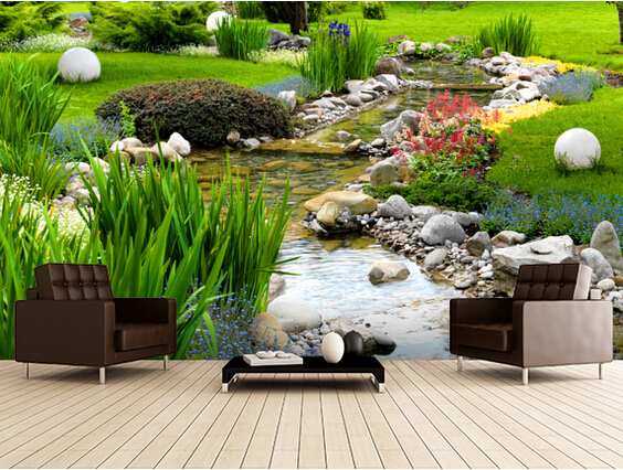 Custom photo wallpaper, Garden and Pond  3D wallpaper mural for the living room bedroom TV backdrop PVC papel de parede боевое снаряжение nickelodeon черепашки ниндзя