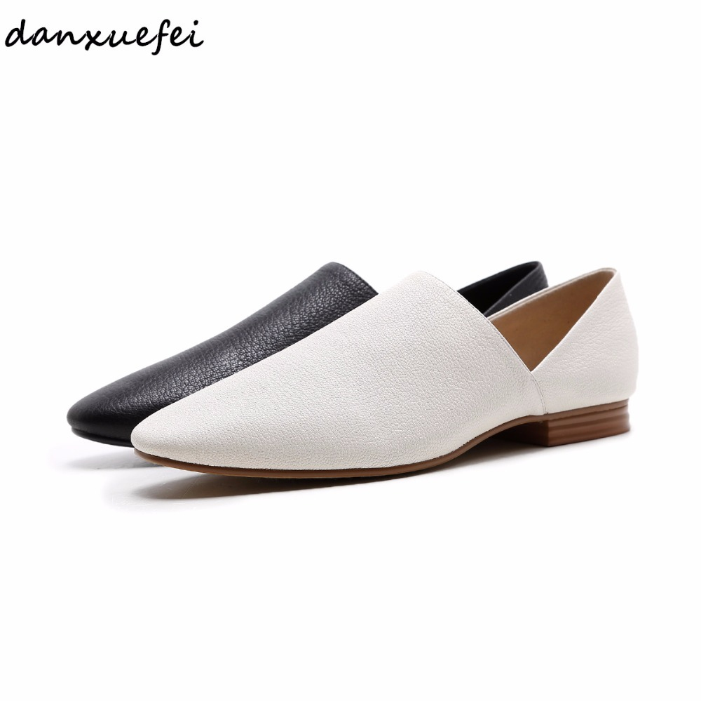 Women's Genuine Sheepskin Slipon Flats Loafers Brand Designer Pointed Toe Soft Comfortable Summer Leisure Espadrilles Shoes Sale