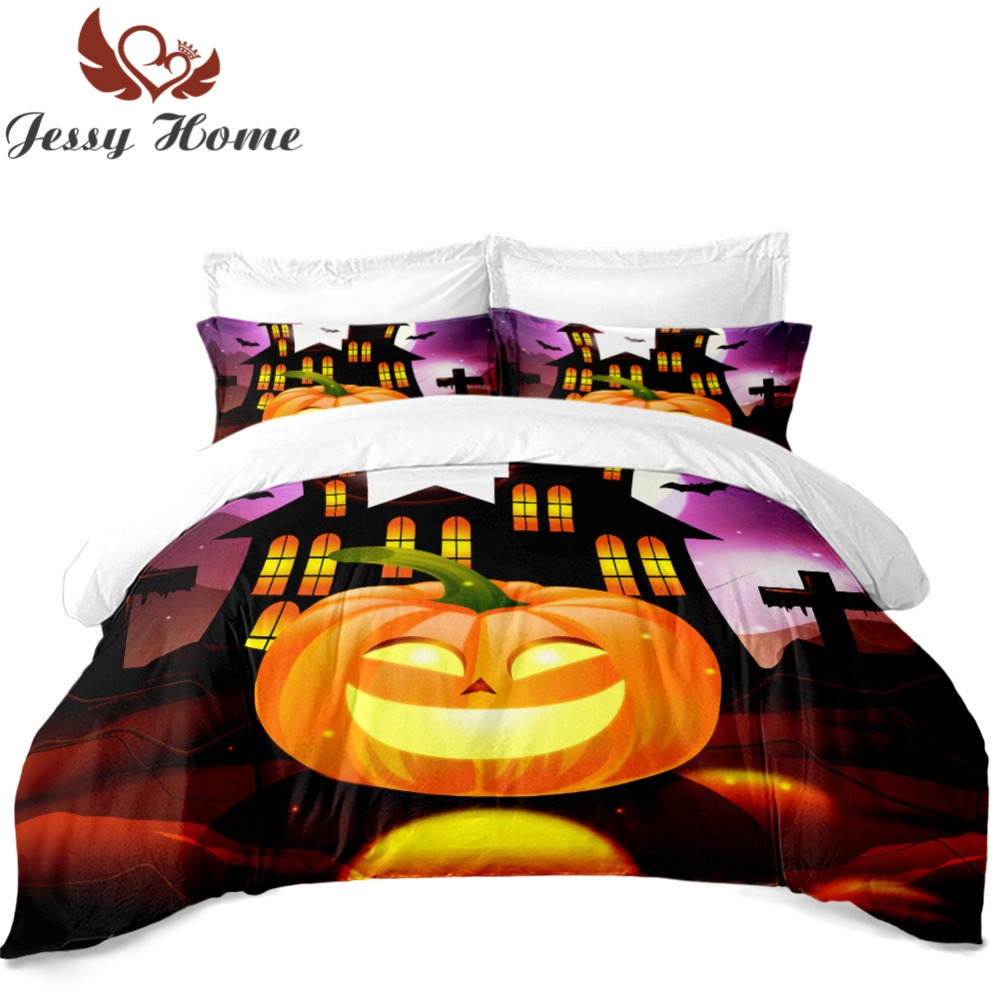 For Halloween Gifts Bedding Set Duvet Cover Set Twin Bedclothes with Pillow Cases 3/4Pcs Yellow Castle Smile Pumpkin