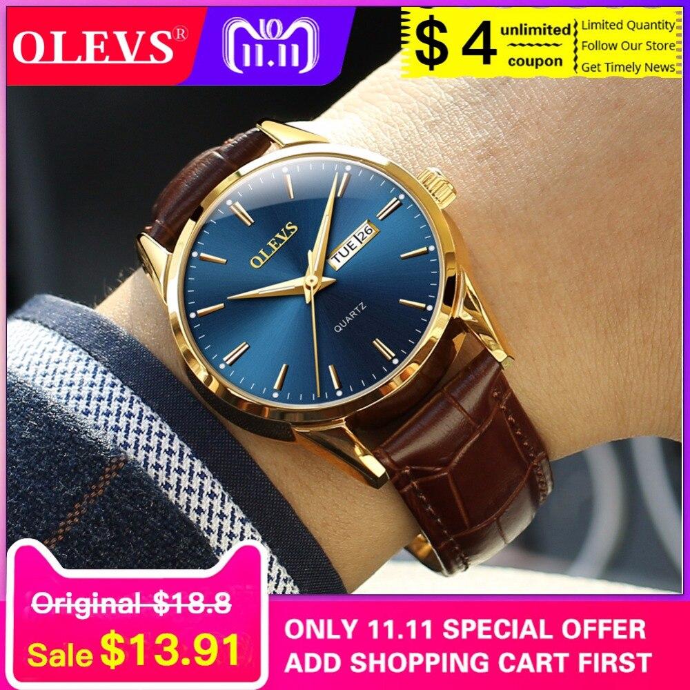Quartz men's watch Casual leather strap waterproof mens watch women clock OLEVS Top brand luxury 2018 new relogio masculino saat