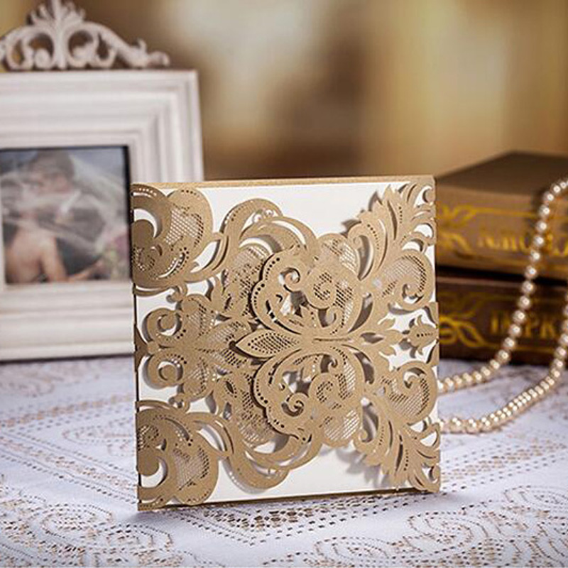 100Pcs Gold Hollow Lace Laser Cut Wedding Invitation Card Greeting Card Personalized Custom Print Wedding Event Party Supplies