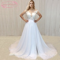 SuperKimJo 2018 Real Photo Chiffon Beach Wedding Dress Lace Vestido De Noiva Applique Cheap Bridal Dresses