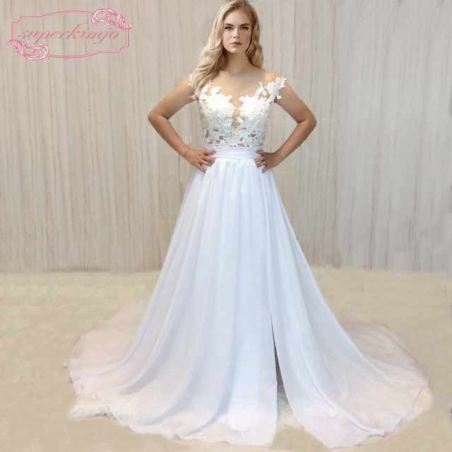 SuperKimJo 2018 Real Photo Chiffon Beach Wedding Dress Lace ...