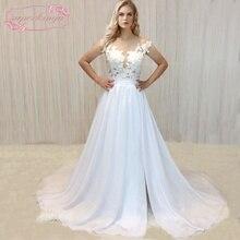 Купить с кэшбэком SuperKimJo 2020 Real Photo Chiffon Beach Wedding Dress Lace Vestido De Noiva Applique Cheap Bridal Dresses 2017