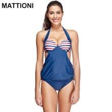 MATTIONI 2017 Swimwear Women Striped Two Pieces Swimsuit Swimwear Bikini Swimsuit Swimwear Women's Swimming Bathing Suit Tankini