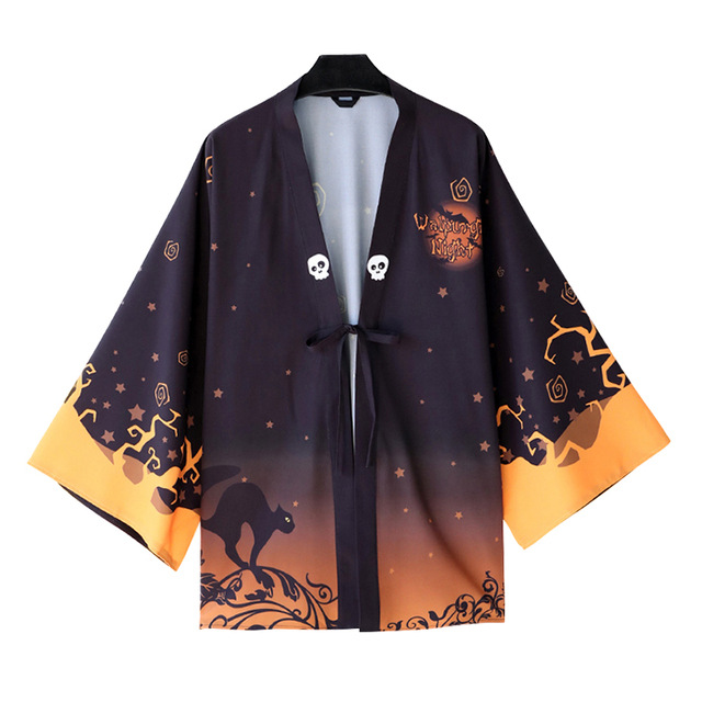 aa4173051155a Japanese Fashion Casual Kimono Yukata Walpurgis Night Men Women Cloak Haori  Cosplay Costume Halloween Party Dress