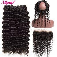 Brazilian Deep Wave 360 Lace Frontal Closure With Bundles Human Hair 3 Bundles With Closure ALIPOP