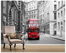 Custom 3d Stereoscopic Wallcoverings London City Buses For Baby Room Living Bedroom Tv Backdrop wall papel de parede(China)