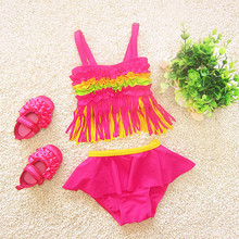 2017 summer tassel infant bikini girls fission skirt size in contrast color bathing suit children 2 to 12 years old