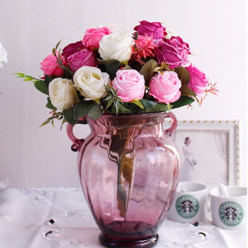 Flône 7 Têtes Européenne Rétro Style Rose Artificielle Simulation Soie Faux Fleurs Petit Bouquet De Mariage Accueil Salon Décor dans Artificielle et Fleurs Séchées de Maison & Jardin