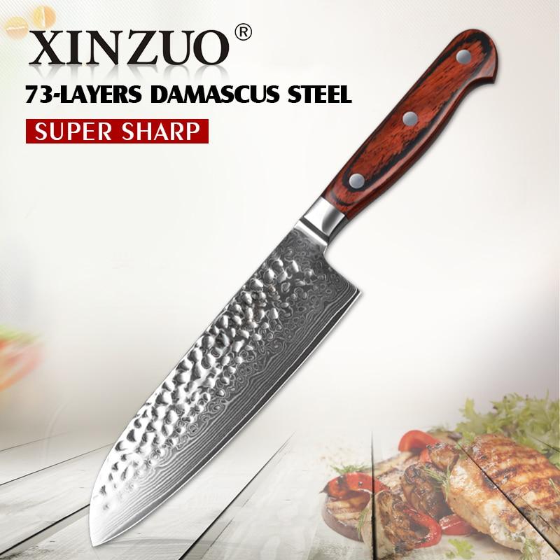 XINZUO 7 нож Santoku Дамасская сталь кухонный нож Professional шеф-повар Дыня Фруктовый нож Лучший Кук милый инструмент Pakka деревянная ручка