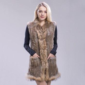 FXFURS natural rabbit fur knitted vests raccoon fur trimming good quality lady fur jackets underwaist sleeveless fur vest gilets
