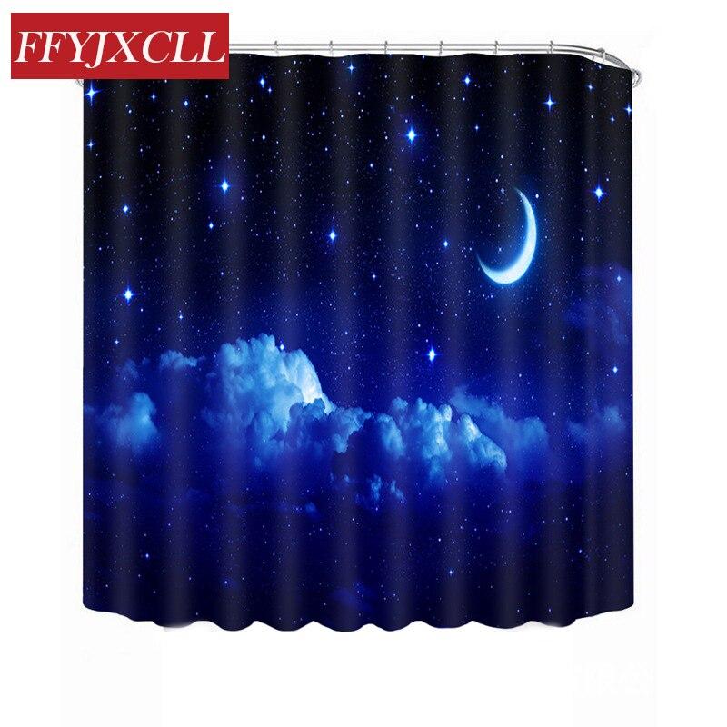 Beautiful Blue Stars Sky Moon Cloud Shower Curtain Waterproof Mildew Bathroom Curtain Multiple Size