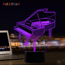 Piano Model 3D Night Light Colorful Novelty Lights 3D Decorative Lamp Art Atmosphere LED Table lamp as Kids Holiday Gift cute unicorn horse animal 3d led 7 colorful wood lamp as lights for kids gift