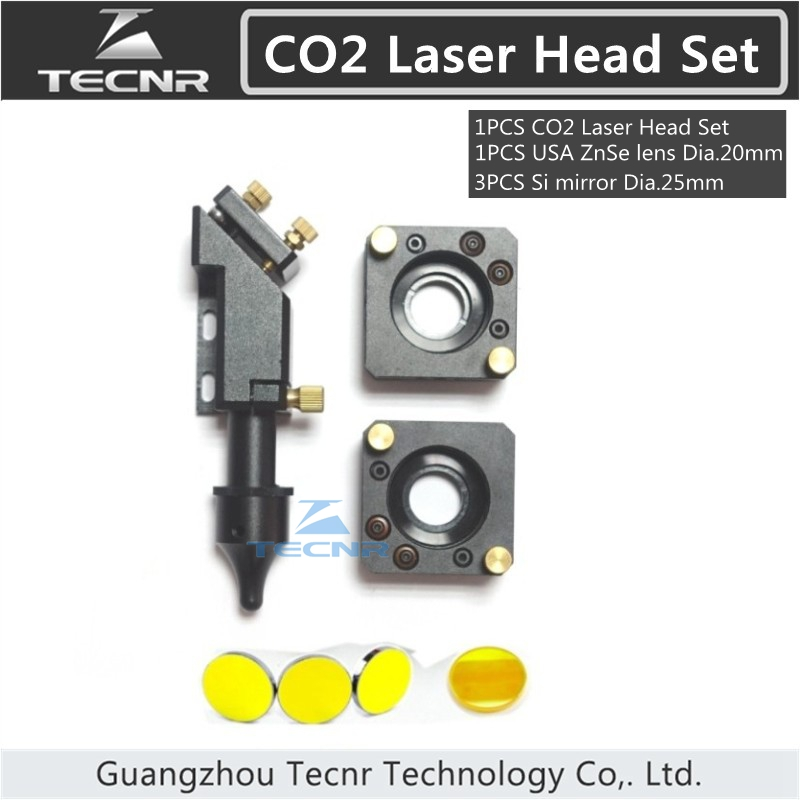 CO2 laser head set 20MM laser lens 25MM Si reflect mirror mount for laser engraver цены