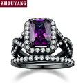 Luxo Moda Anel de Pedras Preciosas de Imitação de Cristal Roxo Conjunto ZYR480 Arma Preta Banhado Partido Jóias Para As Mulheres Por Atacado