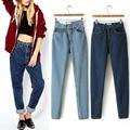 Nuevas Mujeres Retro mediados de Cintura Jeans Stretch Denim Pantalones Harén Pantalones Legging American Apparel AA Anuncio Calle CJ-1072