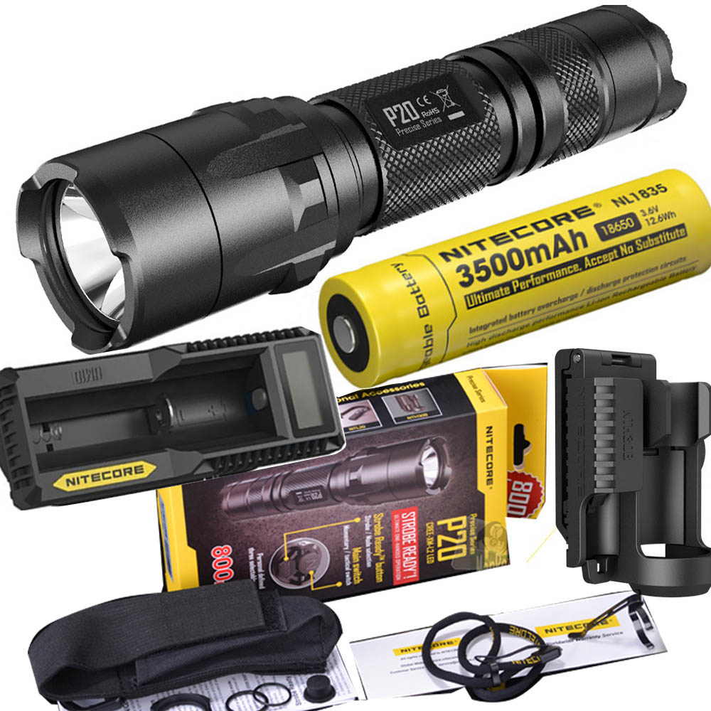 NITECORE P20 Flashlight CREE XM-L2 (U2) LED max. 800LM beam Dual-switch tail LED torch for outdoor sports +NITECORE NTH30B led flashlight nitecore p20 cree xm l2 u2 led max 800lm beam distance 210 meter outdoor torch nth30b mount holder holster