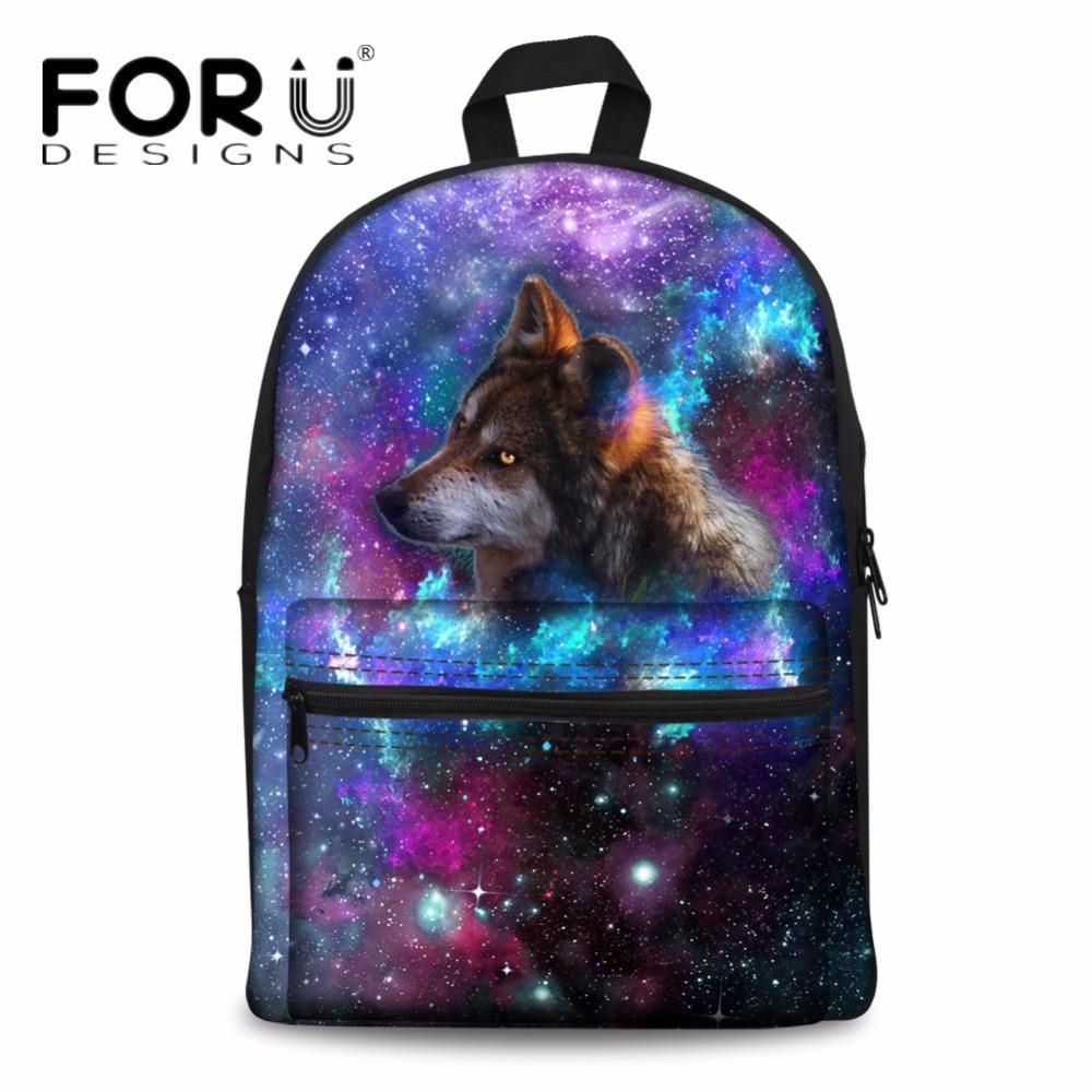 FORUDESIGNS Cool Animal Wolf Printing School Backpack Men 3D Galaxy Vintage Back Pack Rucksack for Teenage Boys Student Bags