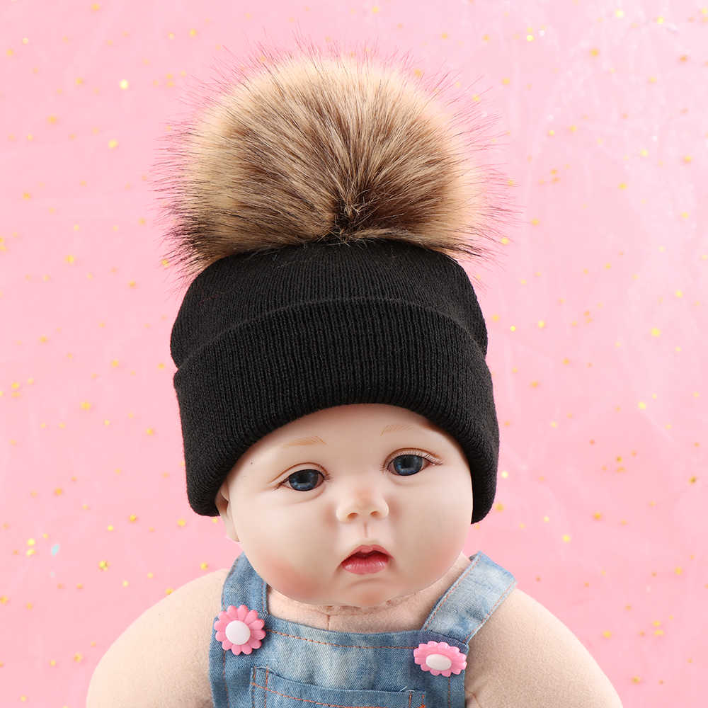 944a512099dbd7 Natural Faux Fur Ball Hat For Kids Baby Boys Girls Winter Ball Knit Faux  Raccoon Fur