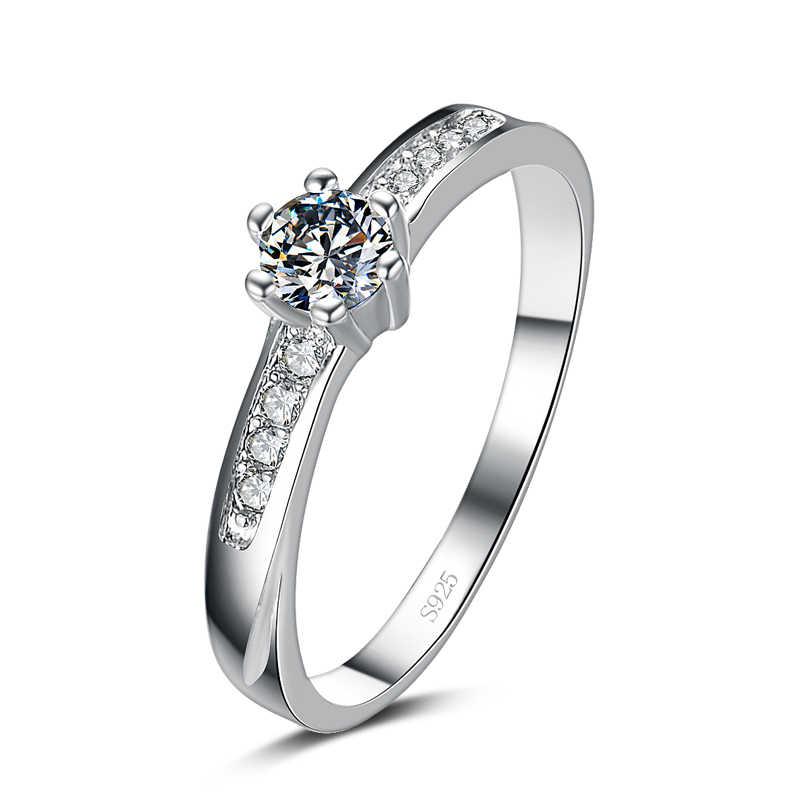 Geld verliezen promotie nieuwe aankomst volledige ster ontwerp 925 sterling zilveren shine zirkoon ladies'finger ringen sieraden gift
