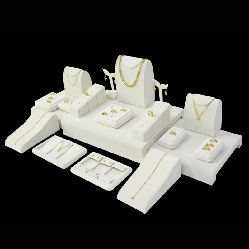 23PCs Kit Beige Velvet Wood Jewelry Display Ring Holder Presentoires Stand for LED cabinet Displaying Show Case
