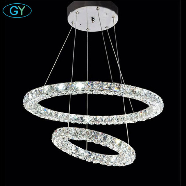 AC100-240V D20cm to D80cm three sides LED crystal pendant lights living room dining room bedroom donut-shaped rings Lustre lamp