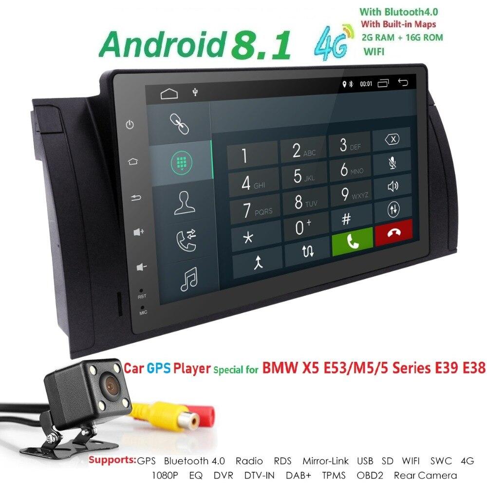 Hizpo 9 pouces 1024x600 HD écran tactile 1 din Android 7.1 voiture multimédia Radio stéréo pour BMW E39 E53 X5 Wifi 3G Bluetooth DVR RDS