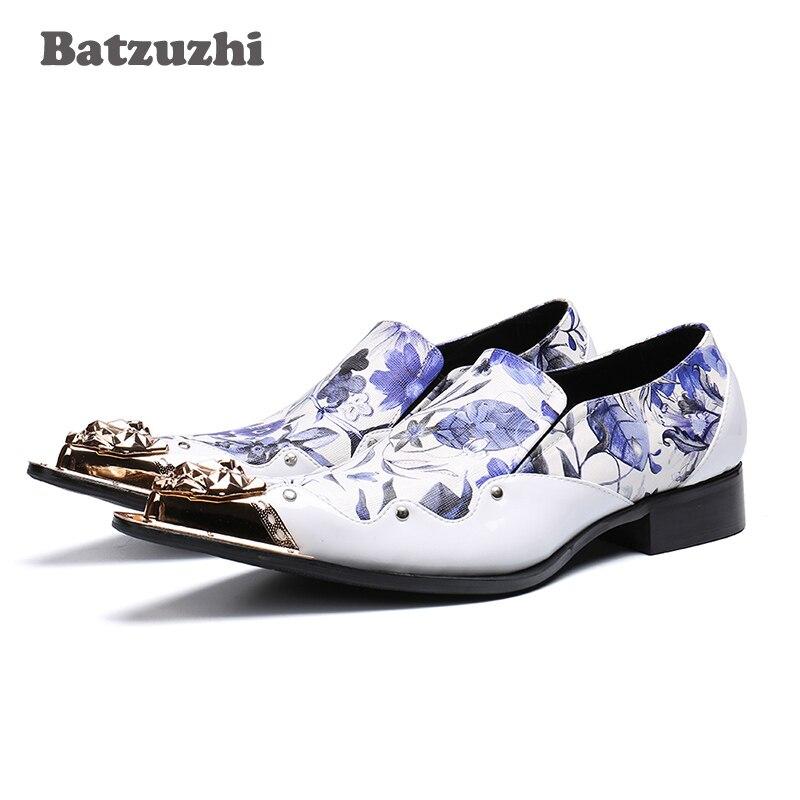 Zapatos De Formal Boda Del Vestir Y Lujo Hombre Batzuzhi Hombres Dedo Cuero  Fiesta Blanco Los ... 61c2722914c