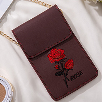 BONAMIE Rose Flower Embroidery Women Crossbody Bag Small Touch Screen Phone Bag Female PU Shoulder Bag Girl Chains Messenger Bag