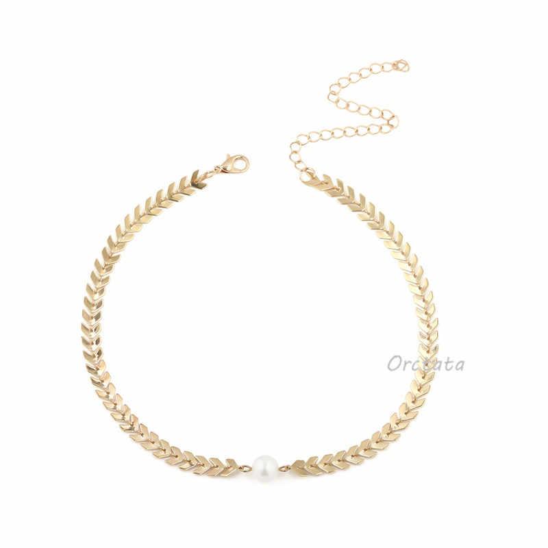 Vintage kobiety artystyczne perłowe krótkie Choker naszyjnik moda złoto srebro Femal Collares naszyjnik łańcuch biżuteria impreza akcesoria