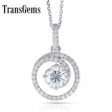 Transgem Solid 14K White Gold 585 6.5MM 1 Carat F Color Moissanite Halo Pendant Necklace for Women Wedding Gift