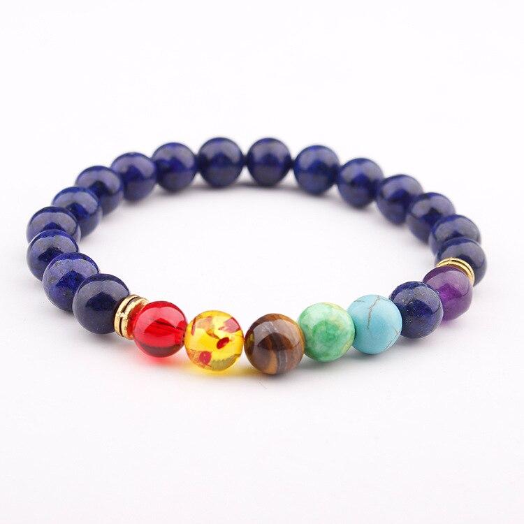 Best Selling Explosions Natural Lapis Lazuli Stone Beads Charm Fashion 7 Chakra Healing Lava Yoga Aura Prayer Bracelet