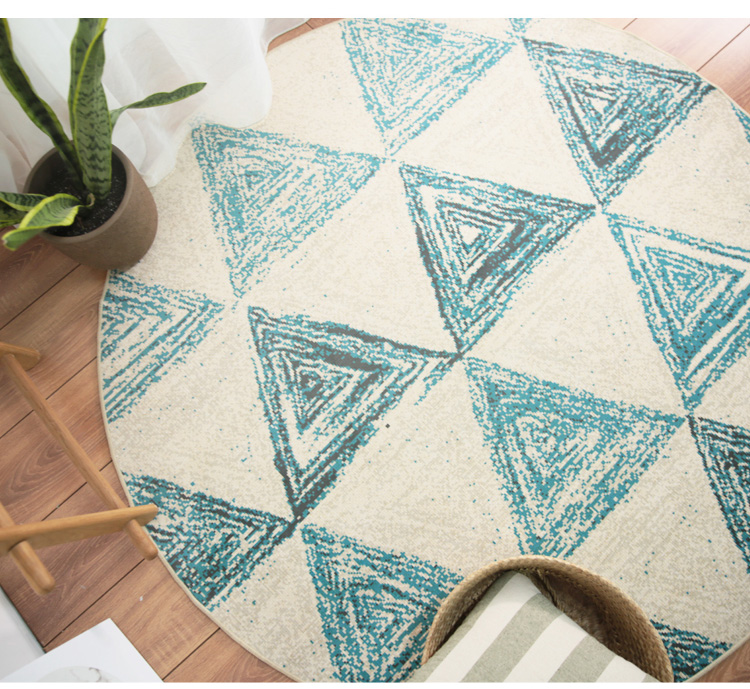 Round Geometric Pattern Carpet For Living Room Study Room Bedroom Floor Mat And Computer Chair Rug With Nordic Ins Deco Style