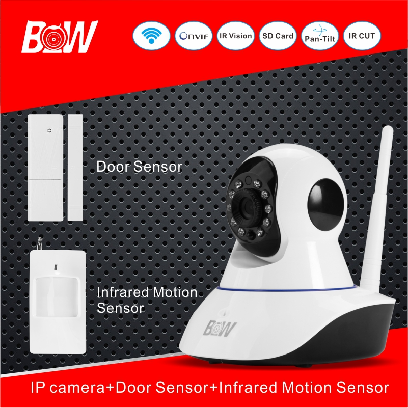 Security IP Camera Wifi PNP Megapixel Full HD + Door Sensor +Infrared Motion Sensor Monitoring Equipment Alarm Camera BW02S