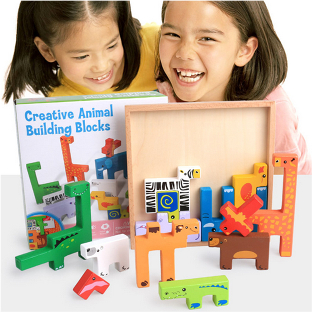 UTOYSLAND Cute Wooden Building Blocks 3D Animals Shape Creative Educational Toys Table Board Game for Children Kids