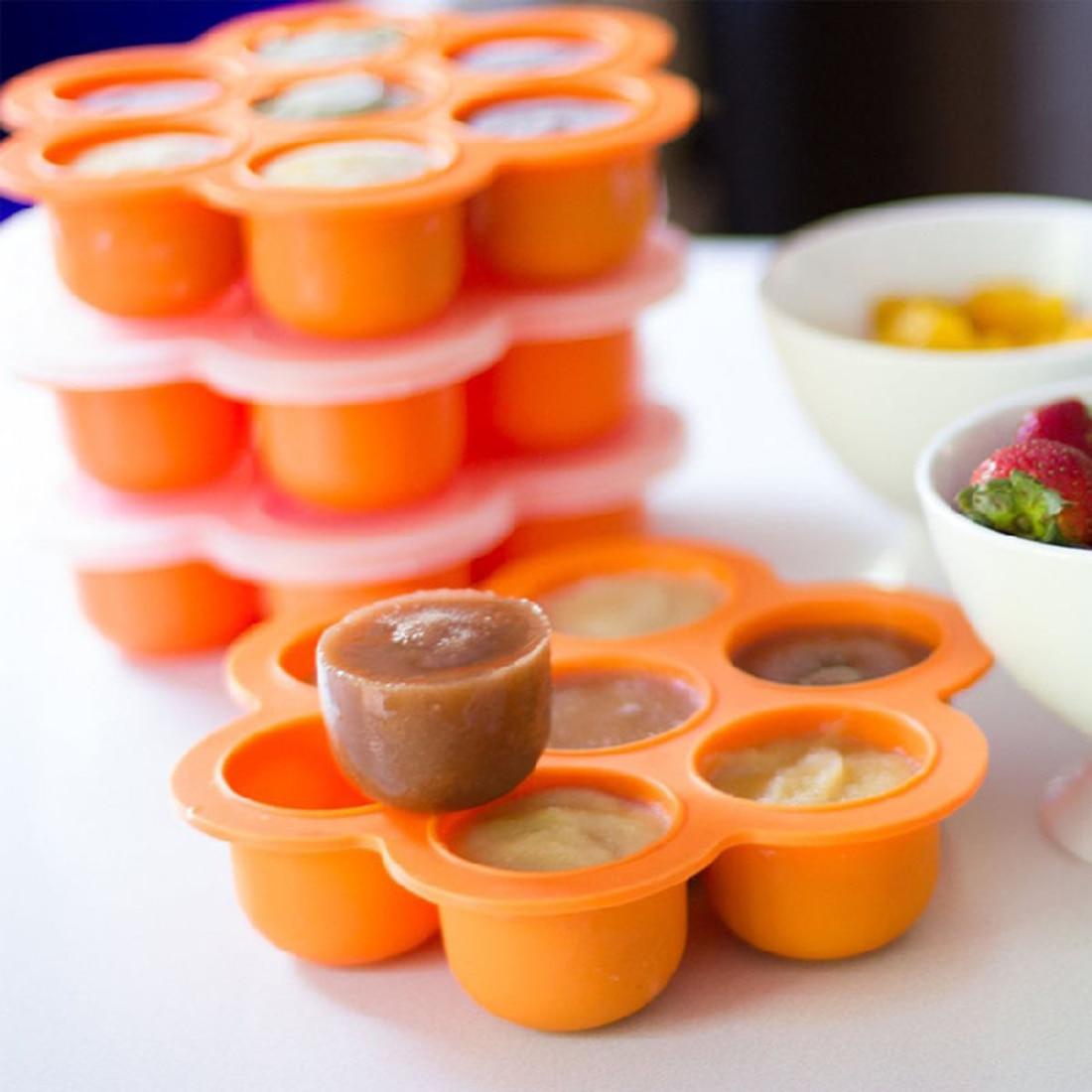 1pcs Baby Food Freezer Tray Storage Box With Silicone Clip
