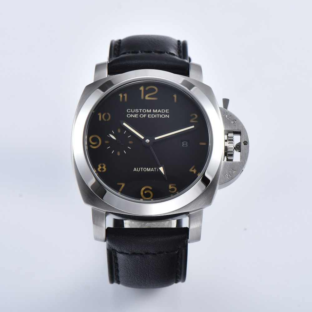 parnis automatic mens watch pam military leather strap 44mm luxury watch date black pvd stainless steel case silver silver back